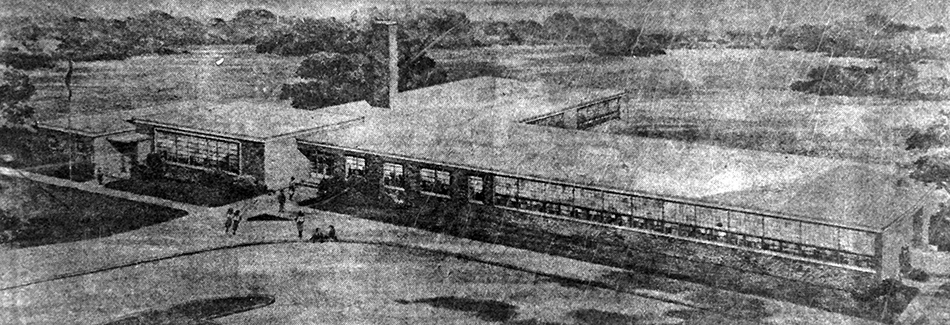 Black and white concept illustration of Timber Lane Elementary School, published in the Sun-Echo Newspaper, Falls Church, Virginia, on September 2, 1955. The building is 'L' shaped and the main entrance is a different part of the building.
